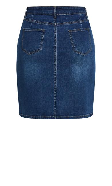 Button Through Denim Skirt - mid wash