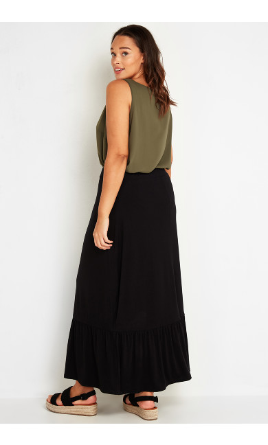 Tiered Maxi Skirt - black