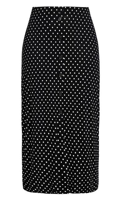 Spot Button Skirt - black