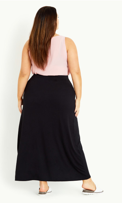 Button Maxi Skirt - black