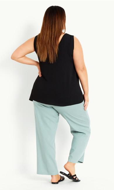 Linen Blend Trouser Sage - Regular