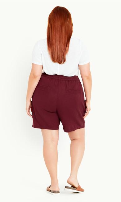 Linen Blend Short - burgundy