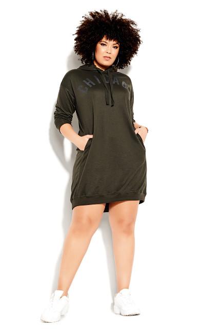 Chicago Hoodie Dress - khaki