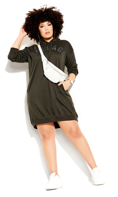 Plus Size Chicago Hoodie Dress - khaki