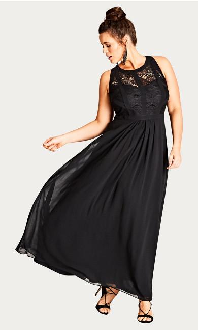 Women's Plus Size Panelled Bodice Maxi Dress - Black