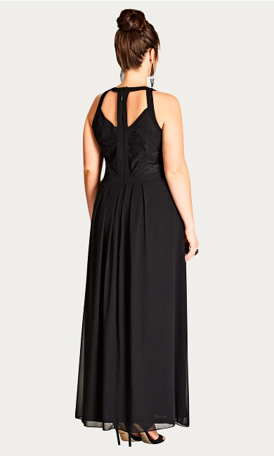 Panelled Bodice Maxi Dress - black
