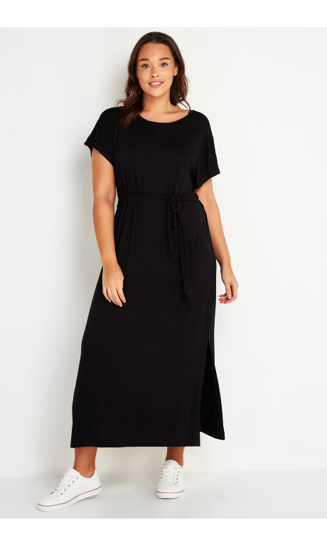 Shop Women's Plus Size Maxi T-Shirt Dress Black