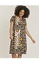 Ochre Printed Jersey Swing Dress