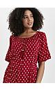 Red Ditsy Print Tie Waist Dress