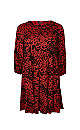 Red Animal Print Jersey Dress