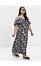 Navy Blue Tropical Print Maxi Dress