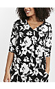 Black Floral Print Pocket Button Shift Dress