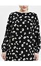 Black Floral Print Tiered Hem Dress