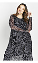 Grey Leopard Print Mesh Detail Dress