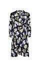 Navy Blue Floral Print Tie Neck Dress