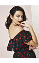 Red Spot Print Bardot Maxi Dress