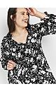 Black Floral Print Tie Waist Dress
