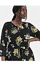 Yellow Floral Keyhole Midi Dress