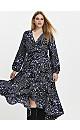 Blue Ditsy Floral Print Wrap Dress