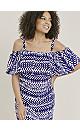 Blue Zig Zag Cold Shoulder Dress