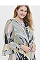 Mint Palm Print Frill Sleeve Dress