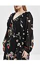 Black Floral Print Wrap Midi Dress