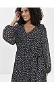 Black Polka Dot Wrap Midi Dress