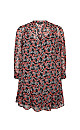 Red Floral Print Tiered Tunic Dress