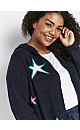 Navy Blue Star Print Hooded Cardigan
