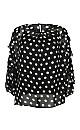 Black Polka Dot Frill Sleeve Top