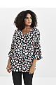 Black Floral Print Frill Sleeve Top
