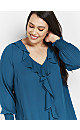 Teal Frill Front Sheer Cuff Blouse