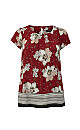 Red Floral Print Vine Shell Top