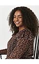 Brown Leopard Print Mesh Top