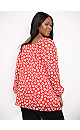 Red Floral Square Neck Top