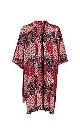 Red Floral Print Patchwork Kimono