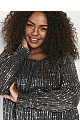 Black Shirred Cuff Sequin Top