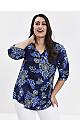 Navy Blue Floral Jersey Shirt