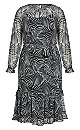 Zebra Tiered Hem Dress - black