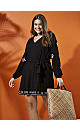 Black Embroidered Belted Tunic Dress