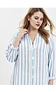 Blue Stripe Print Button Shirt