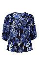 Navy Blue Floral Print Bead Tie Blouse