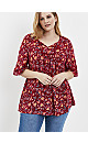 Red Floral Print Crochet Top