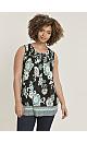 Black Floral Print Shirred Detail Vest