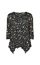 Black Animal Print Floral Pintuck Top