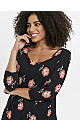Black Daisy Floral Print Swing Tunic Top