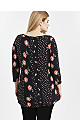 Black Floral Polka Dot Print Top