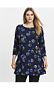Navy Blue Floral Print Swing Tunic