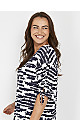 White Abstract Print Knot Top