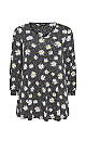 Black Daisy Print Detail Cuff Tunic